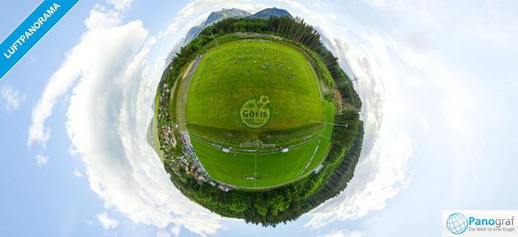 Luftpanorama mit Drohne beim Fußballplatz Göfis